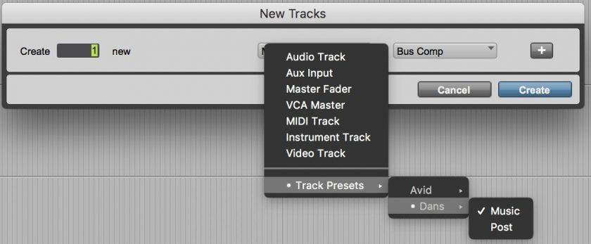 Pro Tools Track Presets
